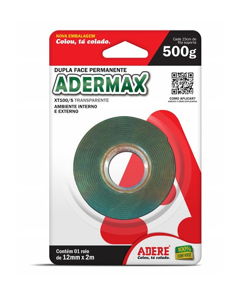 FITA DUPLA FACE ADERE ADERMAX TRANSP 12X02 (N)